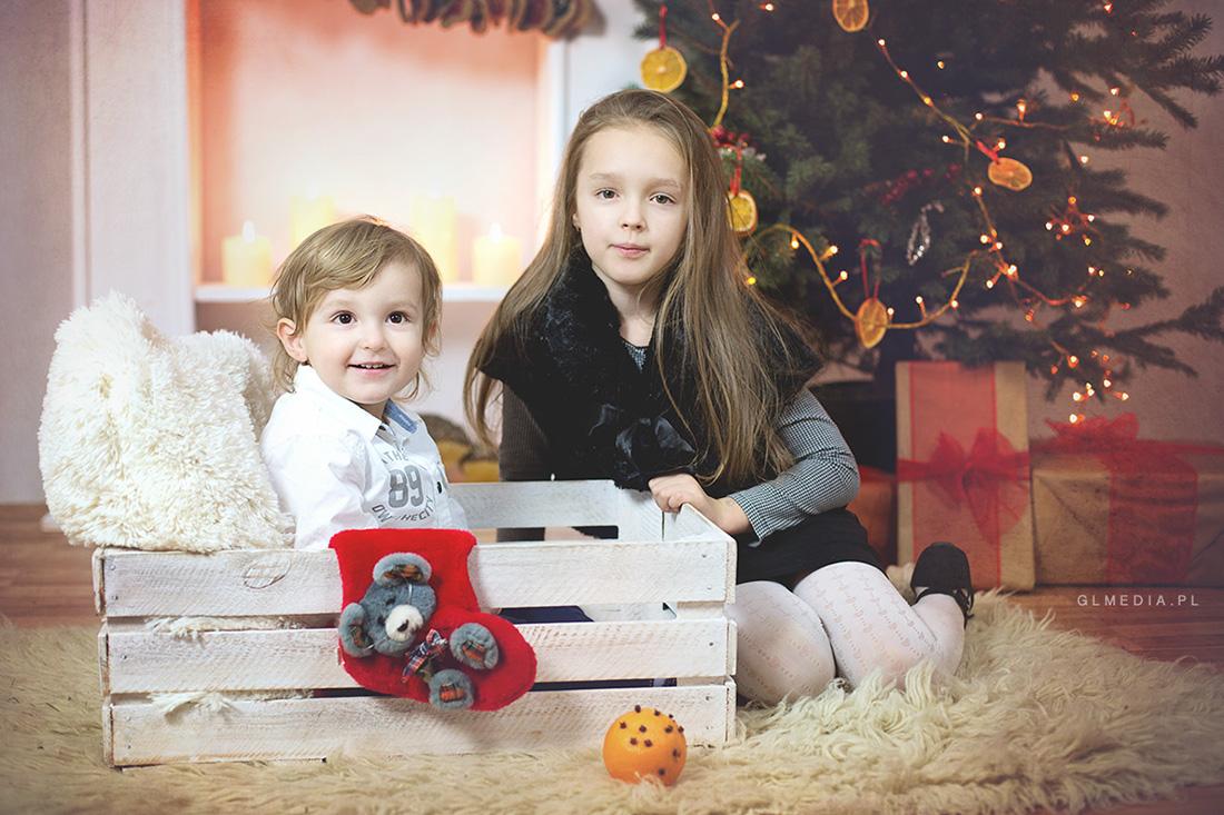 świąteczna sesja zdjęciowa skrzynka