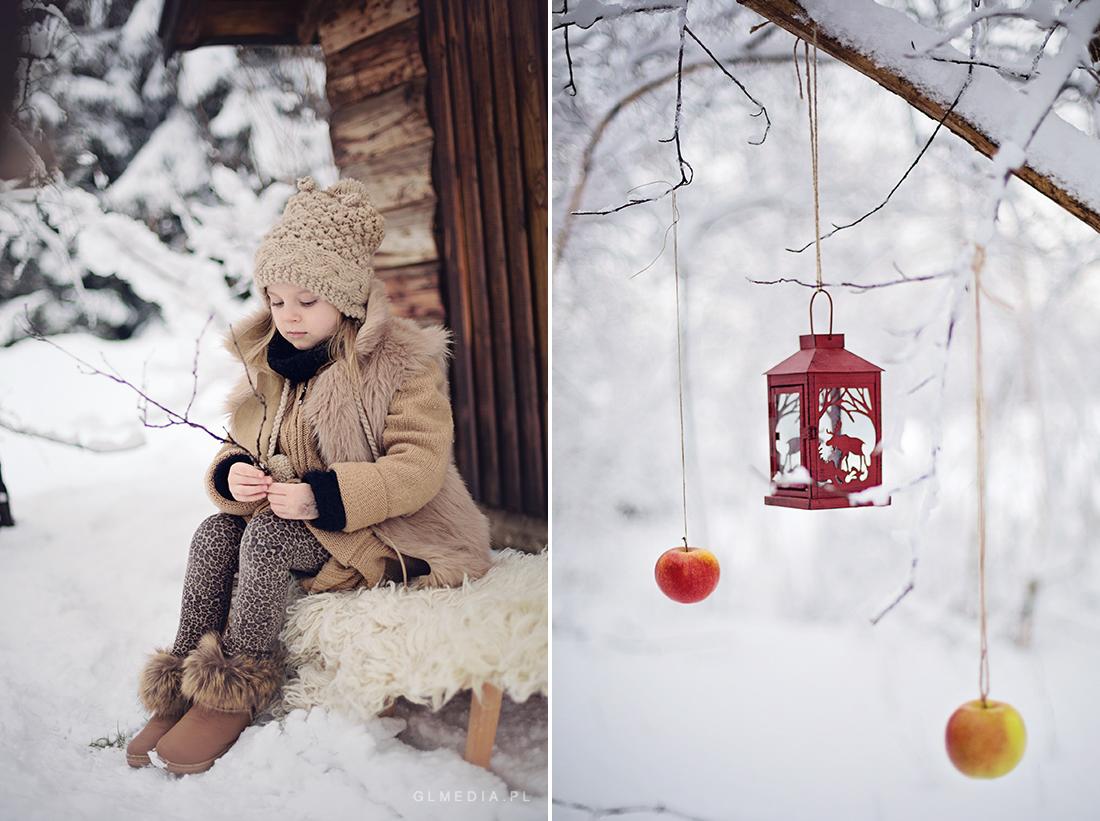 sesja foto zima lampa i jabłka
