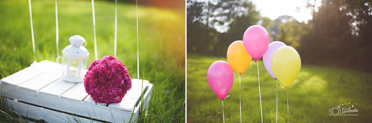 Detale na plenerze ślubnym balony