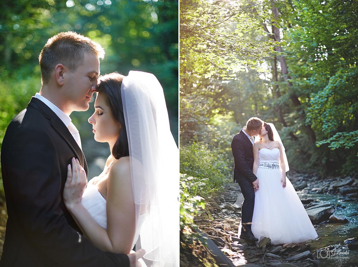 Plener ślubny portret w słońcu