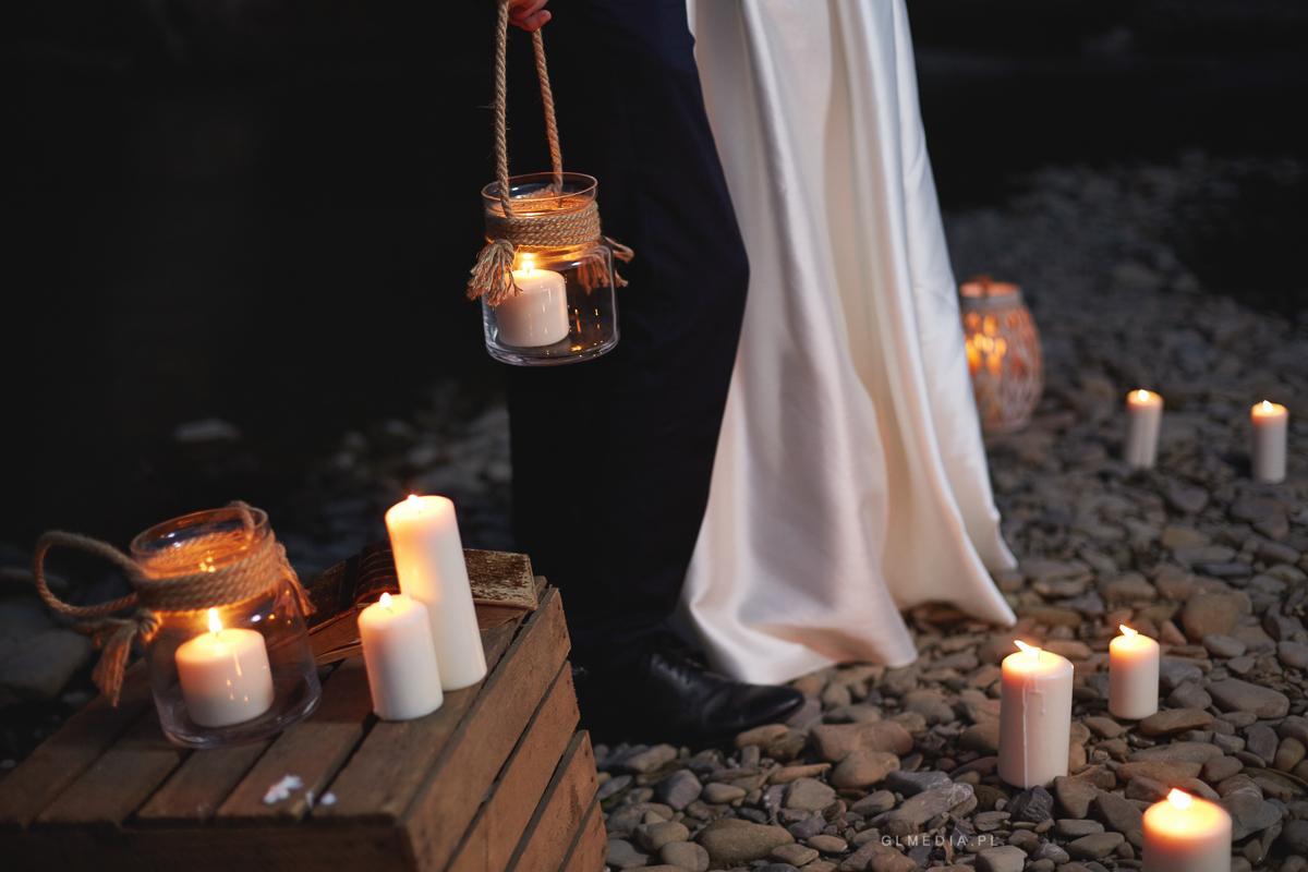 Plener ślubny świece detal